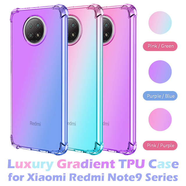 Gradient Case for Xiaomi Redmi Note 9 Pro Max 9S 9T 5G Cases Note9T Cover Women Note9 T Note9S Covers Transparent Luxury Bumper