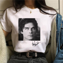 Damon salvatore the vampire diaries cronache vampiro t-shirt tshirt donna T shirt anni '90 Cool T-shirt da donna Streetwear top