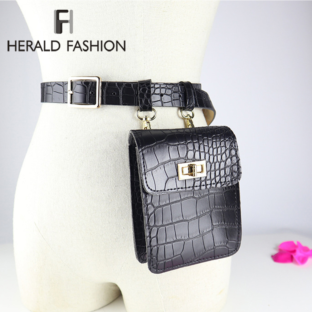 Herald Fashion Women Alligator Waist Bag PU Leather Fanny Pack For Female Waist Pack Belt Bag Designer Black Fanny Pack Bags