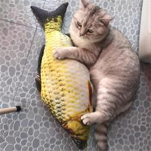 Pet Soft Plush 3D Fish Shape Cat Toy Interactive Gifts Fish Catnip Toys Stuffed Pillow Doll Simulation Fish Playing Toy For Pet недорого