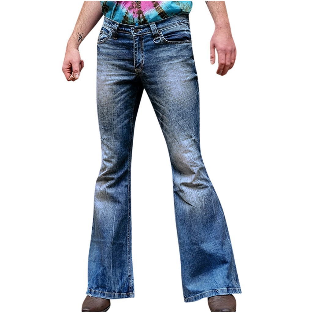 JAYCOSIN Men's Pant Fashion Loose Long Denim Pant For Male Fit Straight Trouser Distressed Jeans Street Hip Hop Long Flare Pants