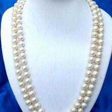 """814 5"""" 11 мм круглый белый пресноводный жемчуг ожерелье"""