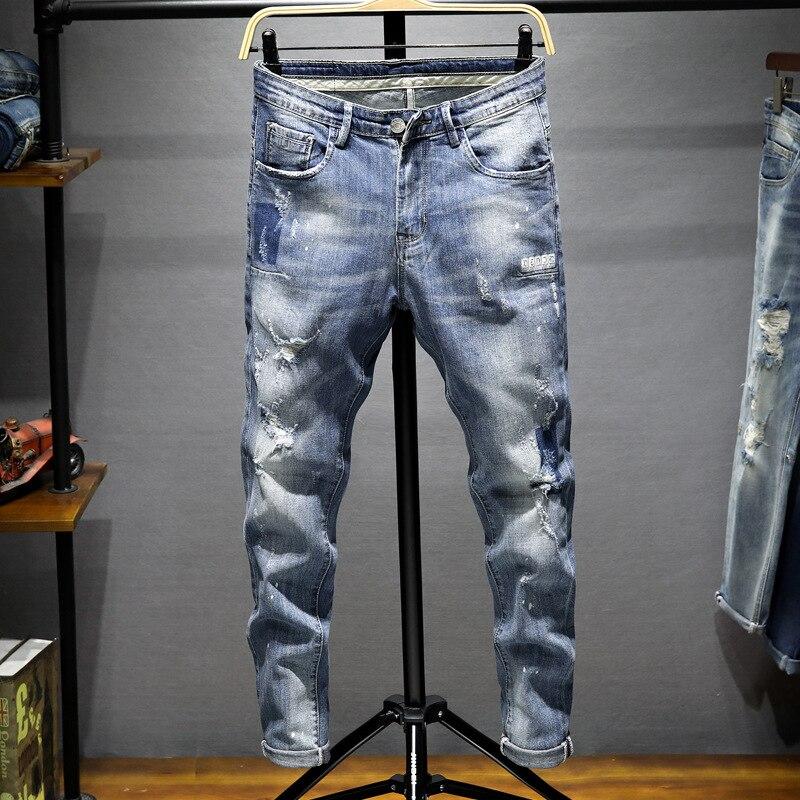 Summer Jeans Men's Korean-style Trend MEN'S Casual Pants Slim Fit Skinny Pants Versatile Stretch Trousers 718