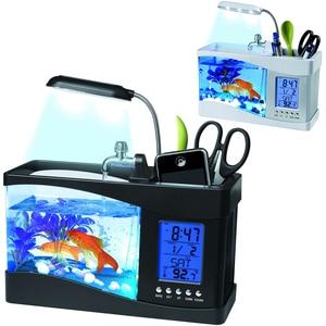 Миниатюрные для аквариума Настольный аквариум USB многофункциональные открытые аквариумы ЖК-дисплей экран календарь часы аквариум Танк D20