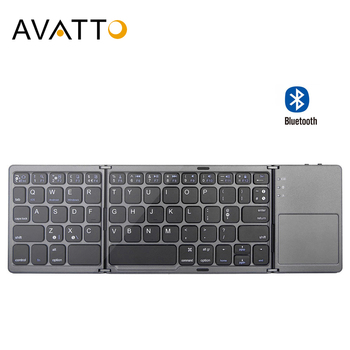 AVATTO B033 Portable thrice Folding Bluetooth Keyboard BT Wireless Foldable Touchpad Keypad for IOS Android Windows