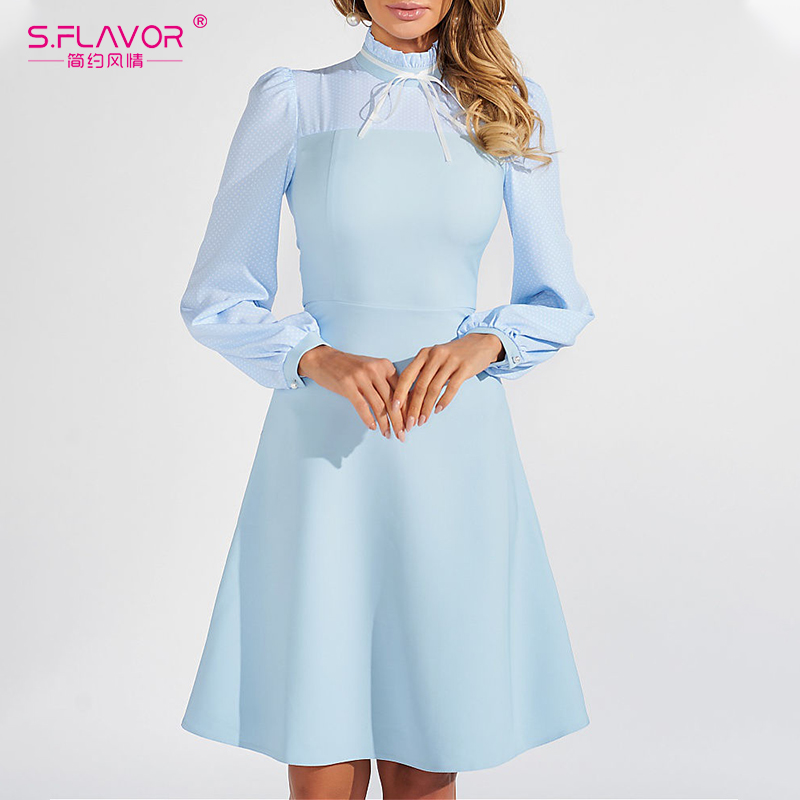 S.FLAVOR Slim Patchwork A-line Dress 2020 Spring Fashion Tur…