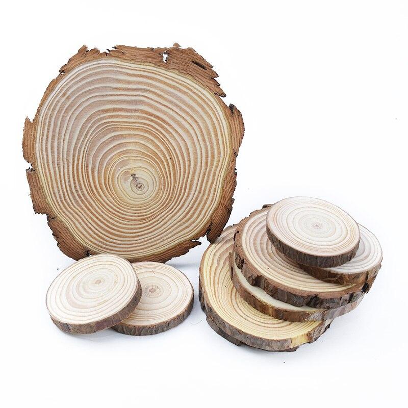 Pacote de olheiras de madeira sem acabamento, 6-15cm de espessura de pinha natural redonda, circular com árvore latida, discos em madeira faça você mesmo pintura de artesanato para festa de casamento, pintura de festa