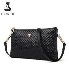 FOXER Marke Echtem Leder Frauen Umhängetaschen Einfache Klassische Stil Dame Schwarz Messenger Bag Stilvolle Lange Schulter Gurt Tasche