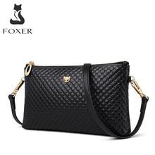 FOXER العلامة التجارية جلد طبيعي المرأة حقائب كروسبودي بسيط نمط كلاسيكي سيدة الأسود رسول حقيبة أنيقة طويلة حزام حقيبة الكتف