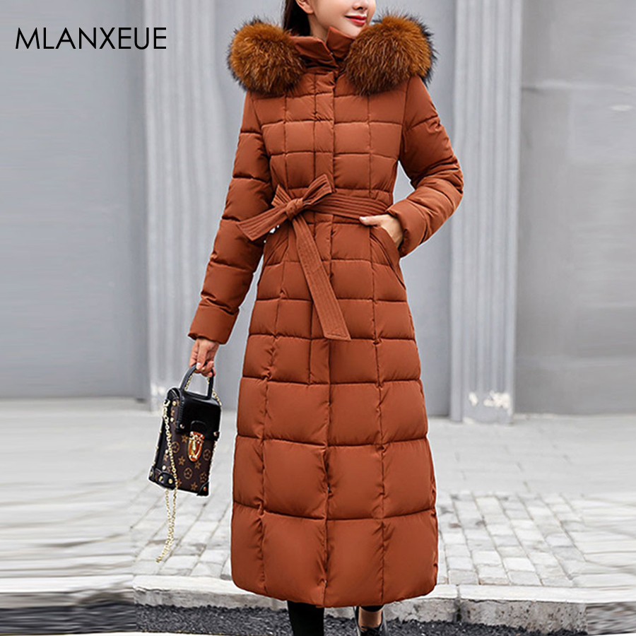 Fur Hooded Long Winter Coats Women Plus Size Solid Cotton Coat Female Casual Thicken Warm Slim Zippers Outerwear   Parka   Jacket