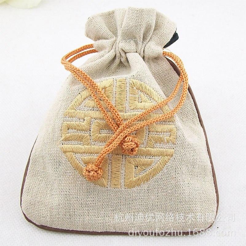 Buddhist Prayer Bead Crafts Bag Wholesale Kit Cloth Bag Bracelets Packing Bags Of Mouth Drawstring Gift Bag Cotton Linen Bag Sim