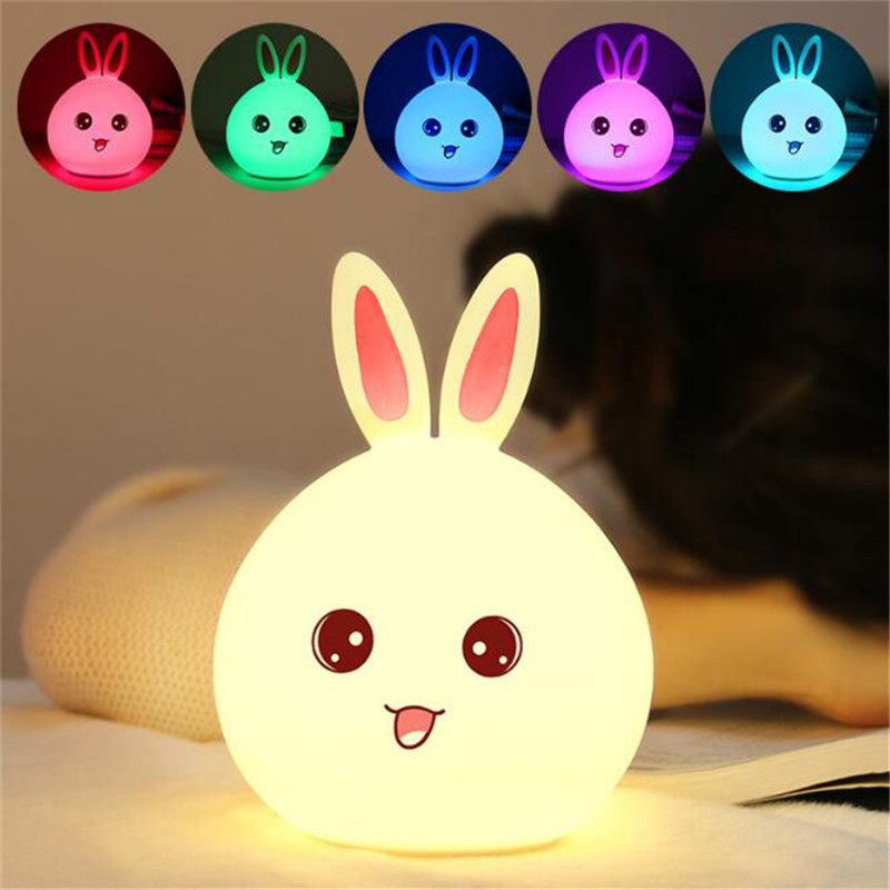 New style Seven Colar Rabbit LED Night Light For Children Baby Kids Bedside Lamp Multicolor Silicone Touch Sensor Tap Control
