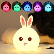 W nowym stylu siedem Colar lampka nocna LED królik dla dzieci Baby Kids lampka nocna wielokolorowy silikonowy czujnik dotykowy sterowana dotykiem