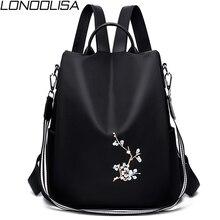 Mulheres elegantes bordados mochilas mochila feminina 3 em 1 luz saco de escola para meninas mochila anti roubo design mochila de viagem