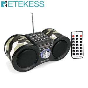 Retekess V113 FM Radio Stereo Digital Radio Receiver Speaker MP3 Music Player USB Disk TF Card Camouflage + Remote Control
