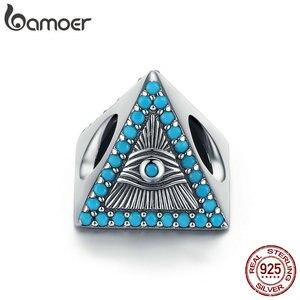 Браслеты и ожерелья BAMOER из серебра и серебра с треугольными бусинами в виде волшебных синих глаз, 925 пробы, SCC1093
