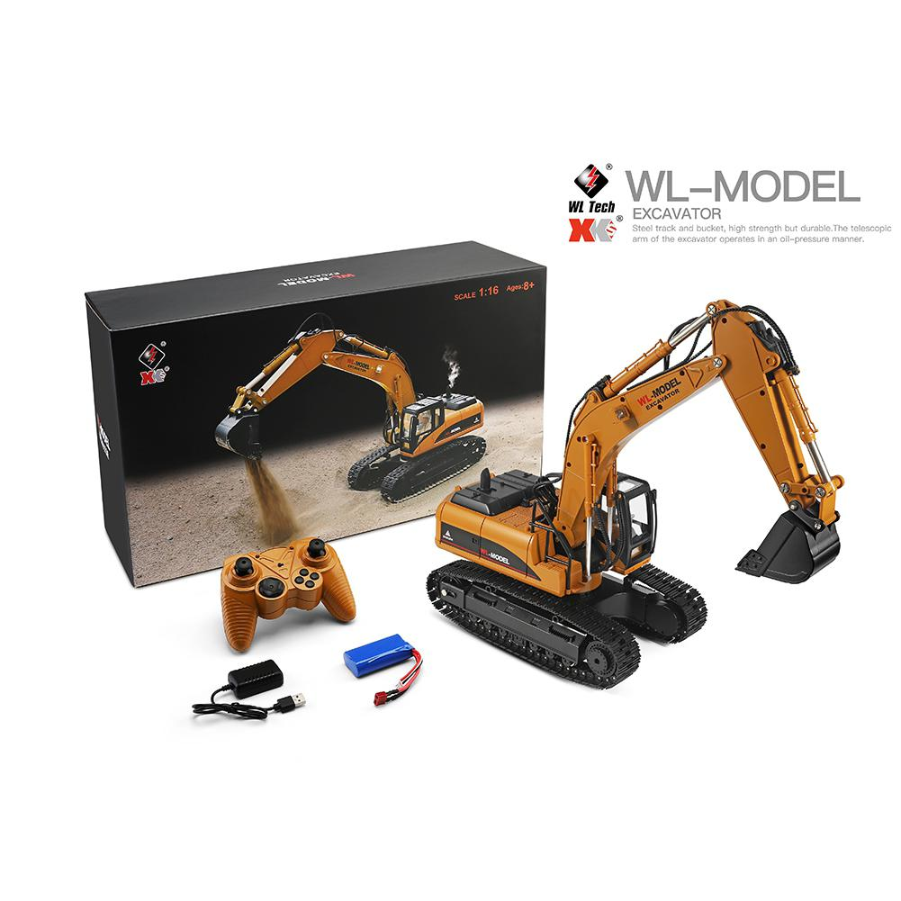 WLtoys 16800 1/16 2.4G Excavator RC Car Toys Styling 23 Channel Road Construction All Metal Truck Autos With LED Light Smoke