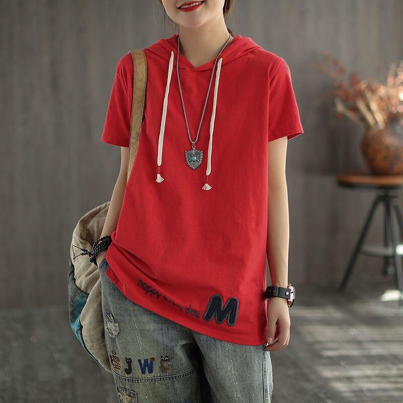 Женская футболка с капюшоном, Повседневная Свободная футболка из 2020 хлопка с коротким рукавом, корейский стиль, большие размеры, S291, лето 100%