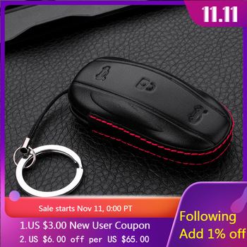 Genuine Leather Key Case Protector For Tesla Model S Model X Automobile Remote Covers Shell Holder with keyring Car Accessories