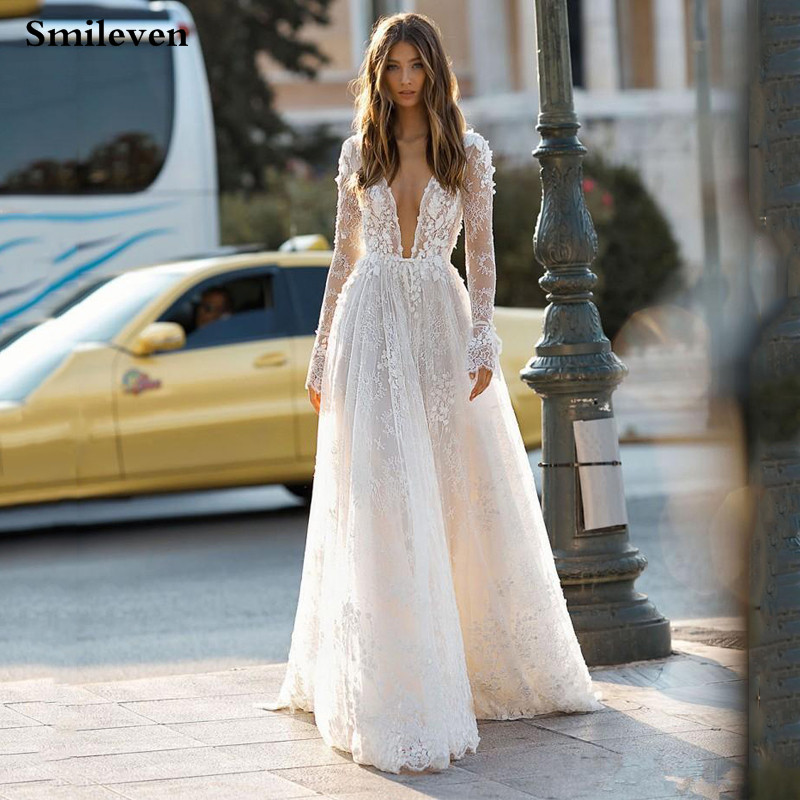Smileven Luxurious Lace Wedding Dresses Sexy V Neck A Line Princess Bride Dresses  Flare Sleeve Wedding Gowns Vestido De Noiva