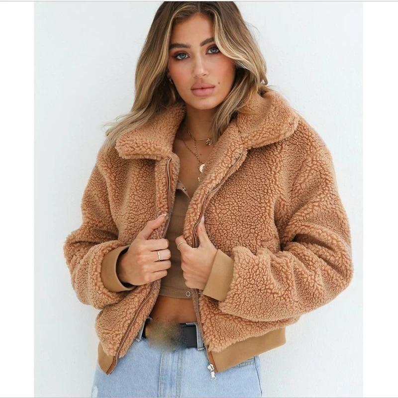 Womens Fluffy Fur Teddy Bear Coat Ladies Winter Warm Plaid Parka Jackets Outwear