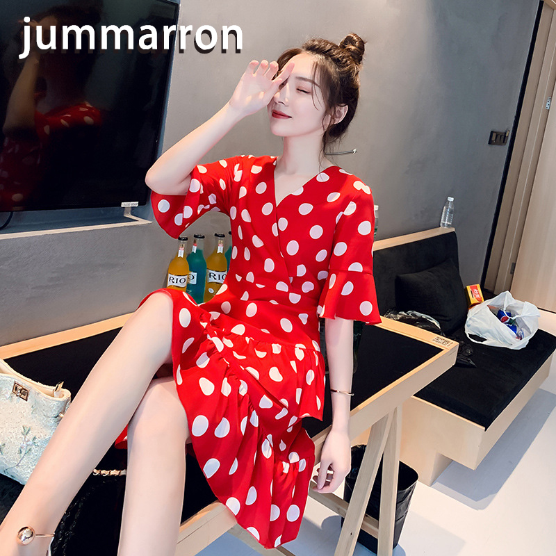 jummarron 2020 new Korean women <font><b>dress</b></font> dot black <font><b>dress</b></font> V-neck temperament slim popular fairy red <font><b>dress</b></font> young style image