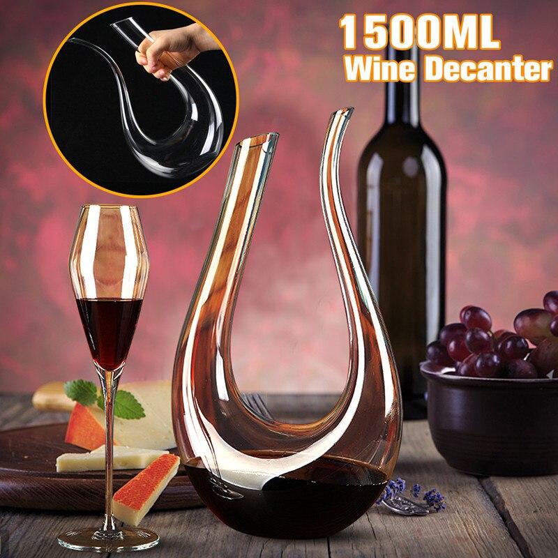 1500ML Große Decanter Luxuriöse Kristall Rotwein Brandy Champagner Gläser Decanter Flasche Krug Ausgießer Belüfter Für Familie Bar