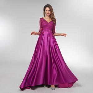 Image 1 - 여자 보라색 긴 소매 이브닝 가운 우아한 공식적인 긴 드레스 새틴 라인 연예인 공식 드레스 저녁 2021