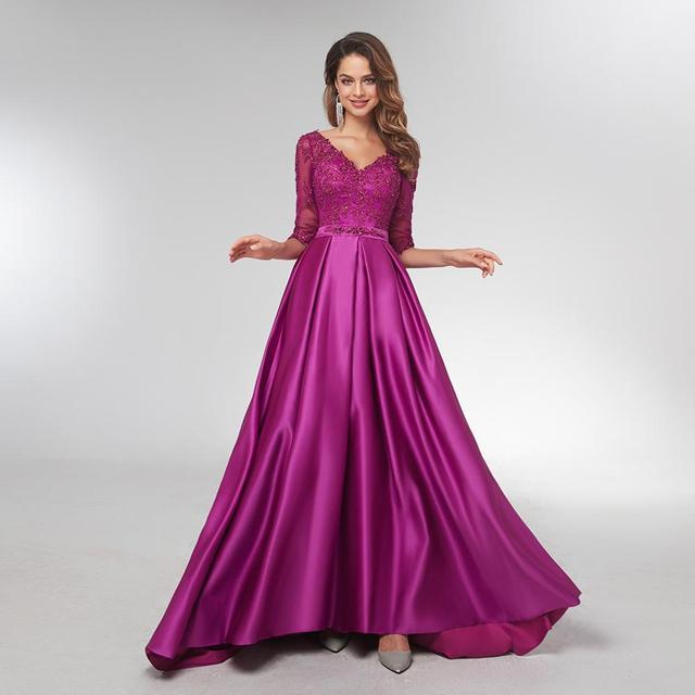 Kobiety fioletowe suknie wieczorowe z długim rękawem eleganckie formalne długie sukienki Satin line Celebrity sukienki wizytowe wieczór 2021