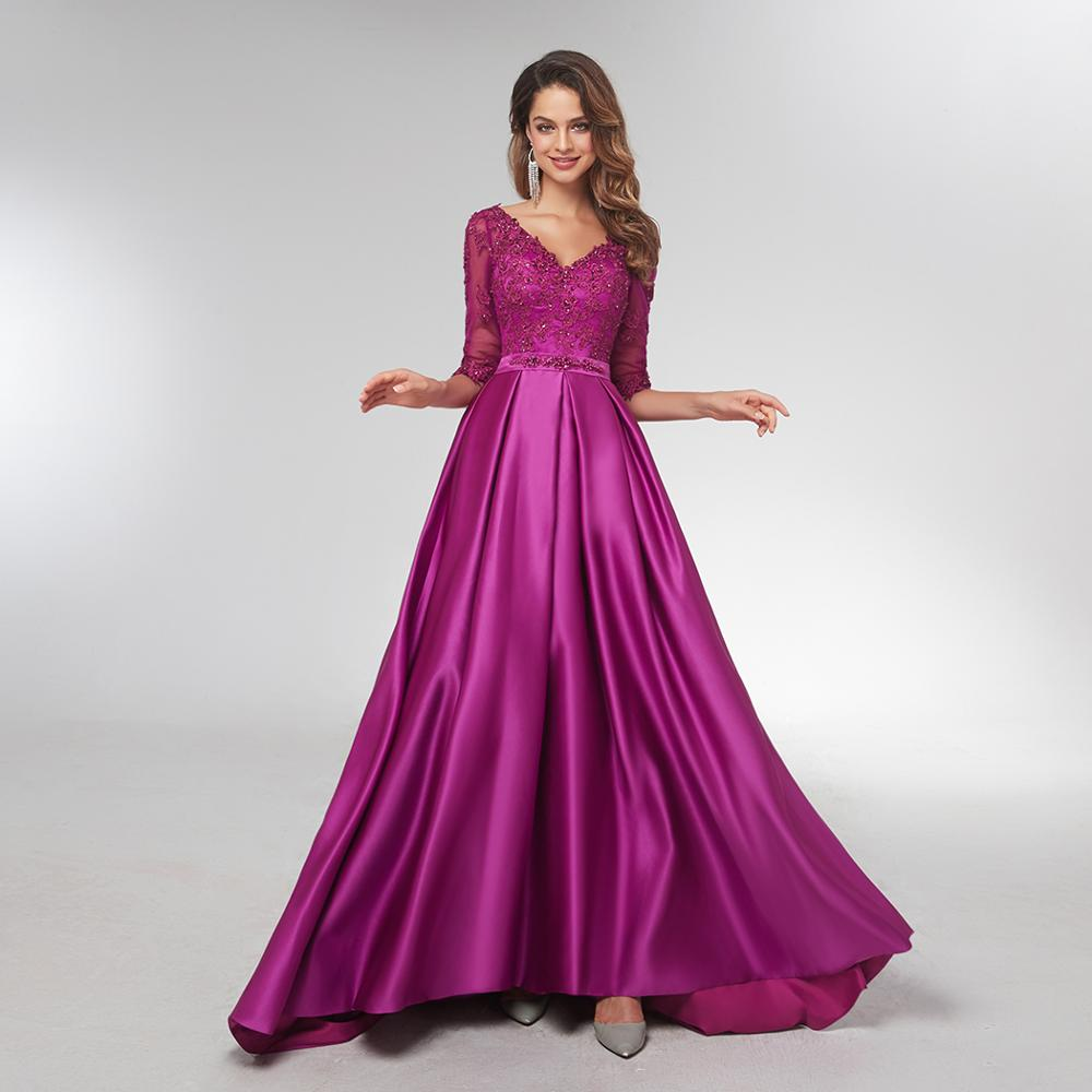Women Purple Long Sleeve Evening Gowns
