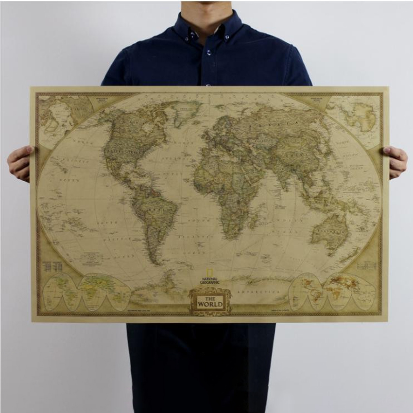 Vintage World Map Kraft Paper Wall Art Retro Map Of The World National Geographic Wall Map Home Living Room Decoration 72x47 Cm