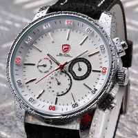 Pacific Angel Shark Sport Watch Men's White Date Day Fashion Casual Men Wristwatch Black Leather Strap Clock Male Clearance