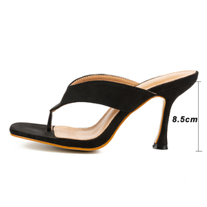 Image 5 - Pzilae women solid slippers 2020 new ladys summer slippers flip flops high heels square toe solid black slippers women slides