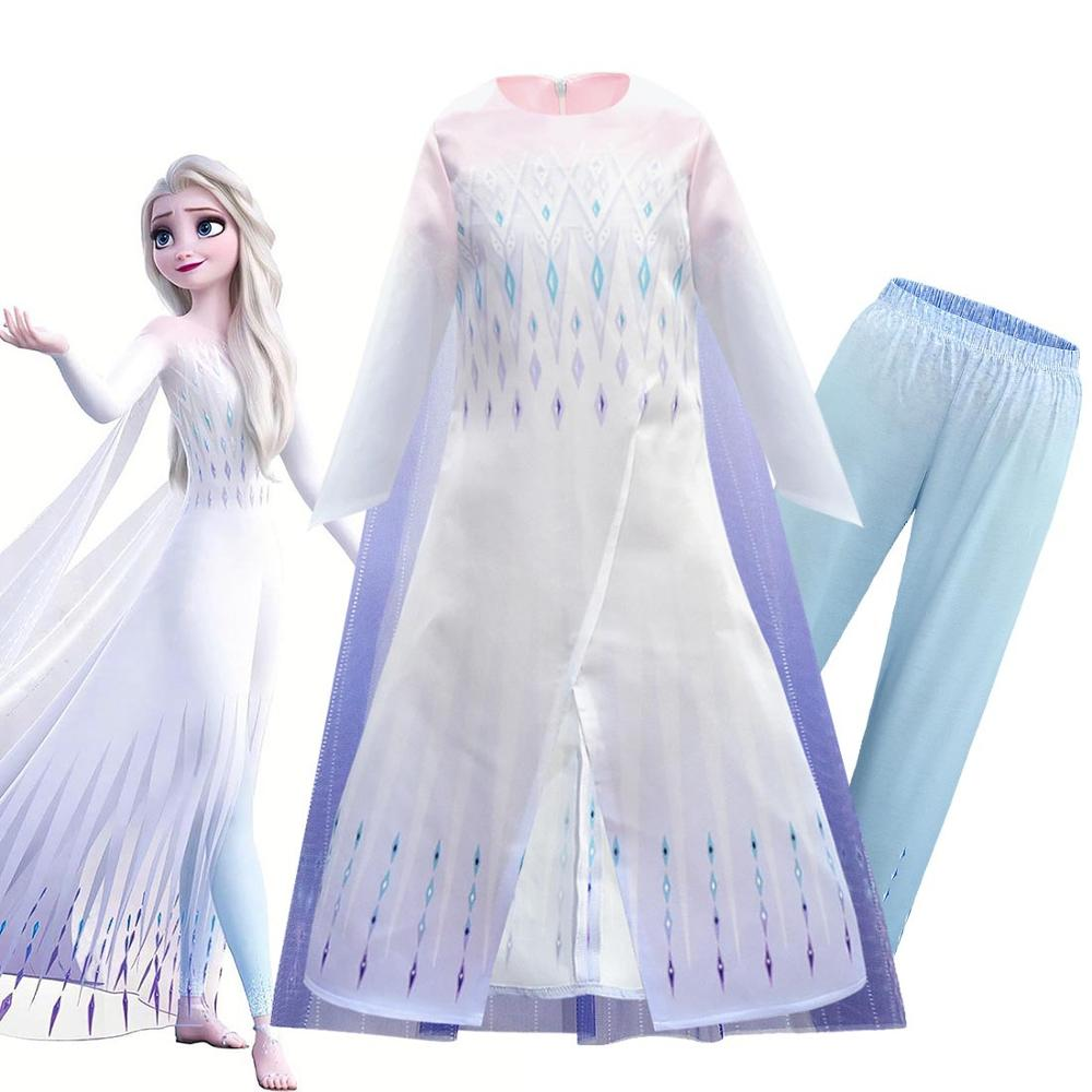 New 2020 Anna Elsa Girl Dress Frozen 2 Christmas Halloween Birthday Party White Princess Dress Cape Pants Cosplay Queen Set