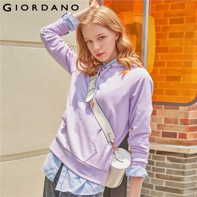 Giordano Women Sweatshirt Women Kangaroo Pocket Hoodies Soild Color Slight Stretechy Durable Femme Pullover 05329779