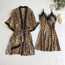 Leopard Lady Sexy 2PCS Robe Set Lace Patchwork Kimono Bath Gown Soft Sleepwear Nightgown With Bra Casual Nightwear Nightdress