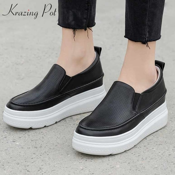 Krazing Pot nature leather round toe thick bottom leisure loafers shoes slip on fashion solid women cozy vulcanized shoes L06