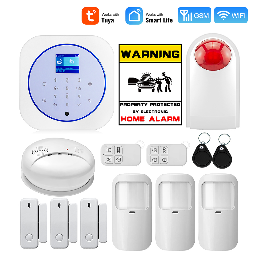 Golden Security Smart Home Security Alarm System WiFi GSM Wireless 433MHz Tuya APP Android IOS Control Touch keyboard Control image