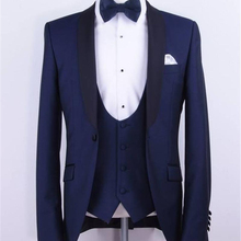 New Navy Blue Formal Men Suits for Groom Shawl Lapel Custom Made Wedding Tuxedos Three Piece Business Suit (Jacket + Pants+Vest) blue wedding groom tuxedos for man ceremony prom suit 3 piece smoking business party men suits custom made jacket vest pant