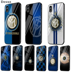 Inter club Mobile Soft Phone Case Glass for iPhone 5 5s 6 6s 7 8 Plus X XS XR XS Max 11 Pro Max SE 2020 12 Mini 12 Pro Max Cover