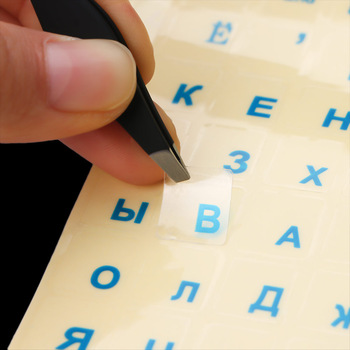 1PCs Russian Transparent Keyboard Stickers Russia Layout Alphabet Black White Label Letters for Notebook Computer PC Laptop 1