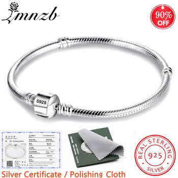 LMNZB With Certificate 100% Original 925 Sterling Silver Snake Chain DIY Charm Bracelet for Women Gift Silver 925 Jewelry LHB925 1