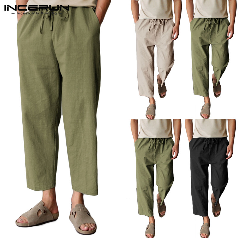 INCERUN Vintage Pants Men Cotton Linen Joggers Drawstring Baggy Casual Workout Sweatpants Trousers Men 2019 Pantalon Hombre 5XL