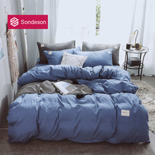Sondeson Fashion Simple Style Blue Bedding Set Soft Printed Duvet Cover Set Flat Sheet Double Queen King Bed Set Free Shipping