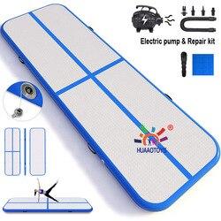 Mini pista de aire inflable mat gimnasia tumbling yoga 1m 2m 3m 4m 5m de longitud envío gratis CE/UL ventilador eléctrico