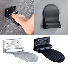 Алюминиевый сплав складной для ног ванной комнаты шаг-Безопасность Нескользящая душевая подставка для ног Накладка для бритья ног, серебро/черный