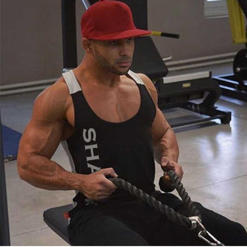 Solid Gym Mannen Stringer Tank Top Bodybuilding Fitness Singlets Spier Vest Tee basketbal jersey