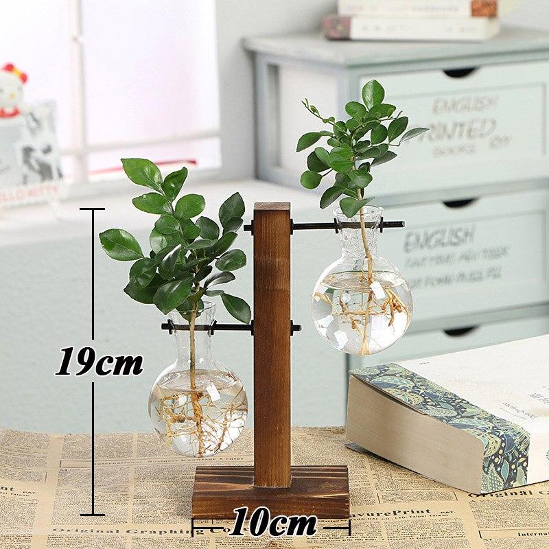 Террариум креативный гидропонный завод прозрачная ваза деревянная рамка ваза декоративная стеклянная настольная растение бонсай Декор ваза для цветов - Цвет: Type C