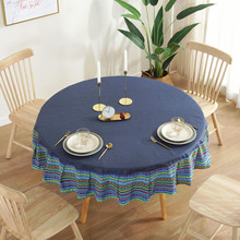 National style round waterproof table cloth solid tea table cloth wild table cloth multi-functional cover cloth folding elevating table and table scale multi functional storage tea table with stools