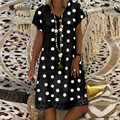 Женская обувь с узором в горошек, с принтом свободное платье летние женские Платья из хлопка повседневная женская обувь в богемном стиле ле...